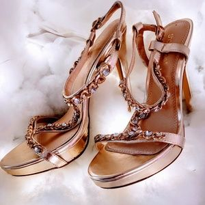 Shoe Dazzle Gold Heels